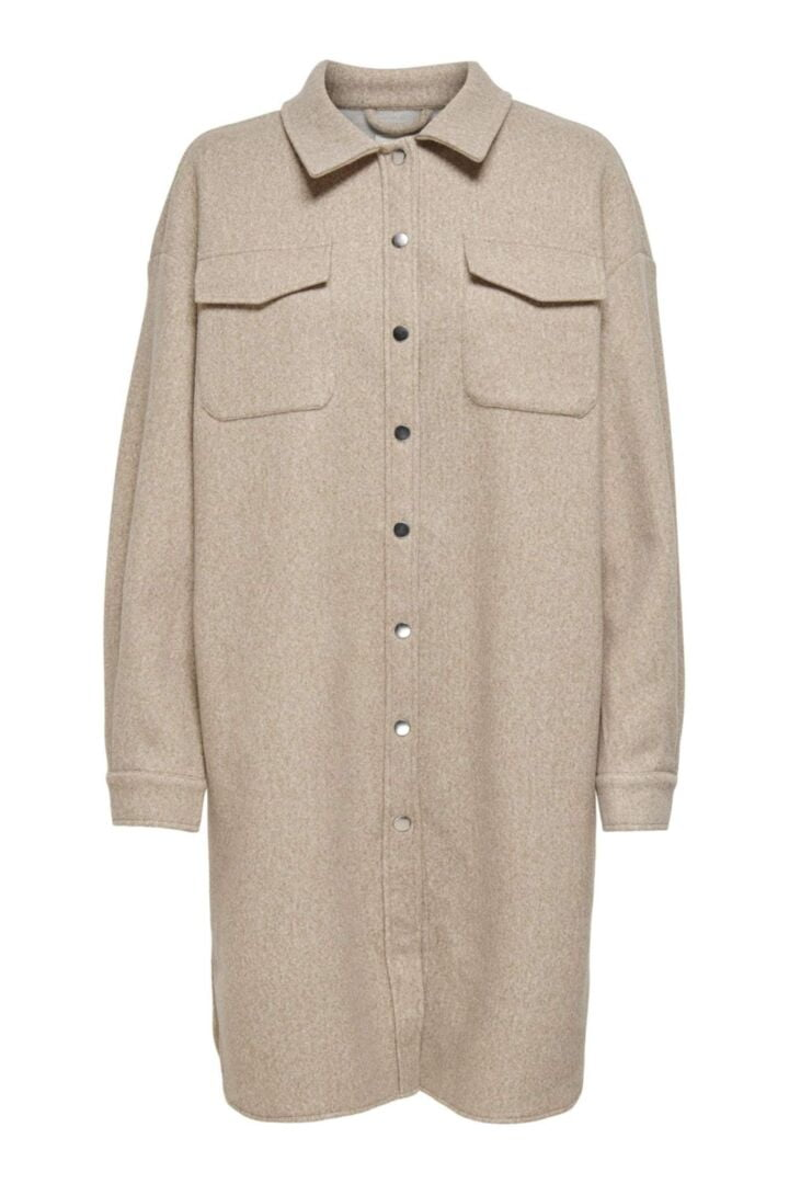 Elaine LS Long Shacket - Beige
